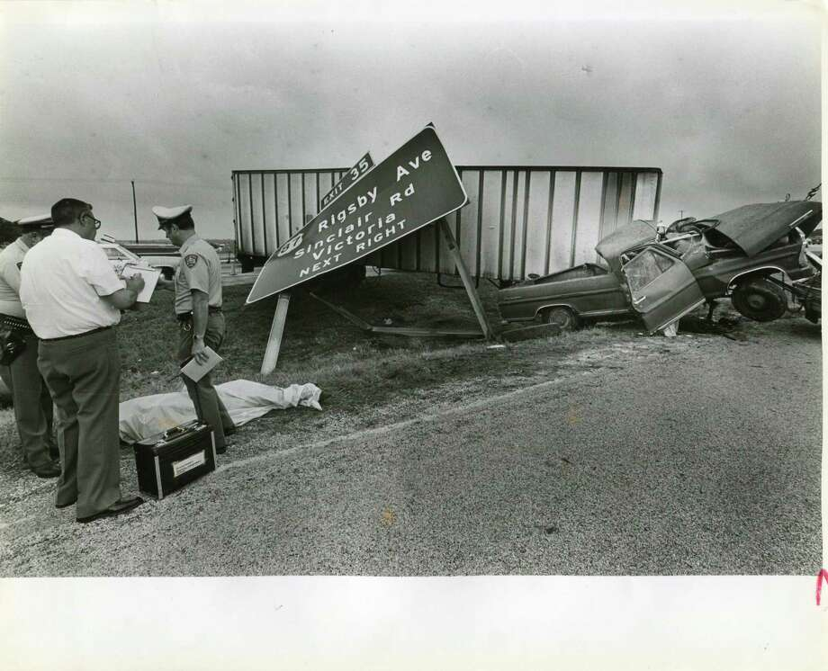 A fatal wreck at 410 and Rigsby on June 5, 1985. The driver, a 53-year-old man, died when a tractor trailer smashed his pickup. SAEN/Steve Krauss. Photo: SAEN