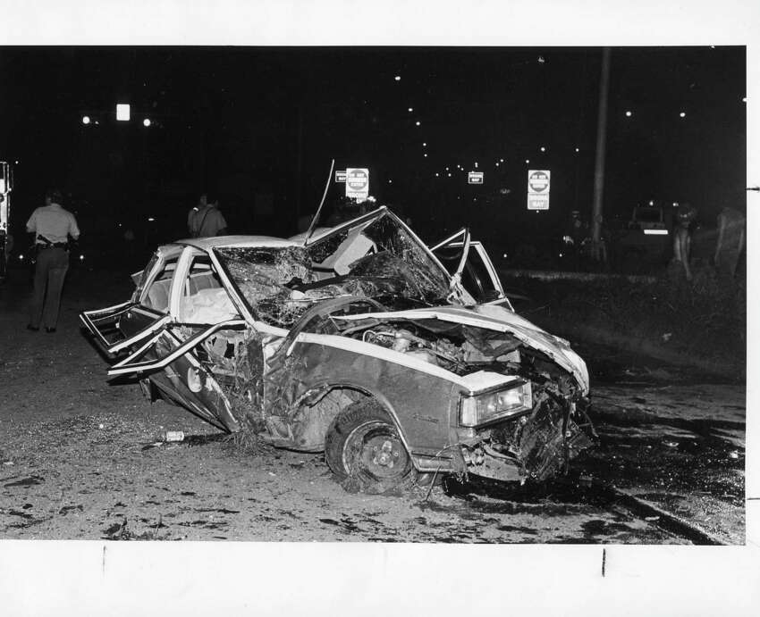 Fatal wreck that involved one car at Zarzamora and Darby Dr. on June 8, 1985. The 20-year-old driver came off eastbound Hwy 90 at a high speed and flipped. SAEN/Charles Barksdale.