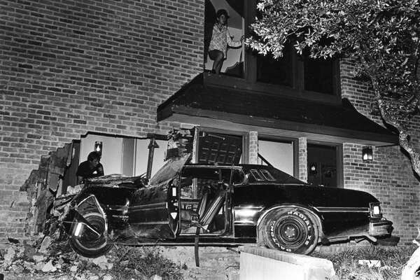 A vehicle crashed into a building on N.W. Military and Braesview on April 18, 1985. SAEN/Charles Barksdale.