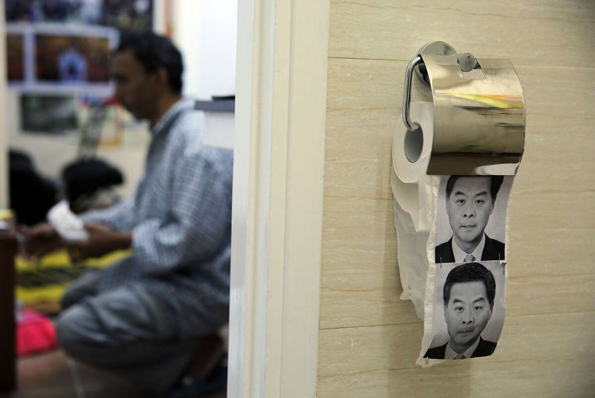 COMMUNIST PARTY POOPERS: China has seized 7,600 rolls of toilet paper featuring the facial expressions of Hong Kong's pro-Beijing Chief Executive Leung Chun Ying. Pro-democracy protesters had counted on putting the paper to good use.