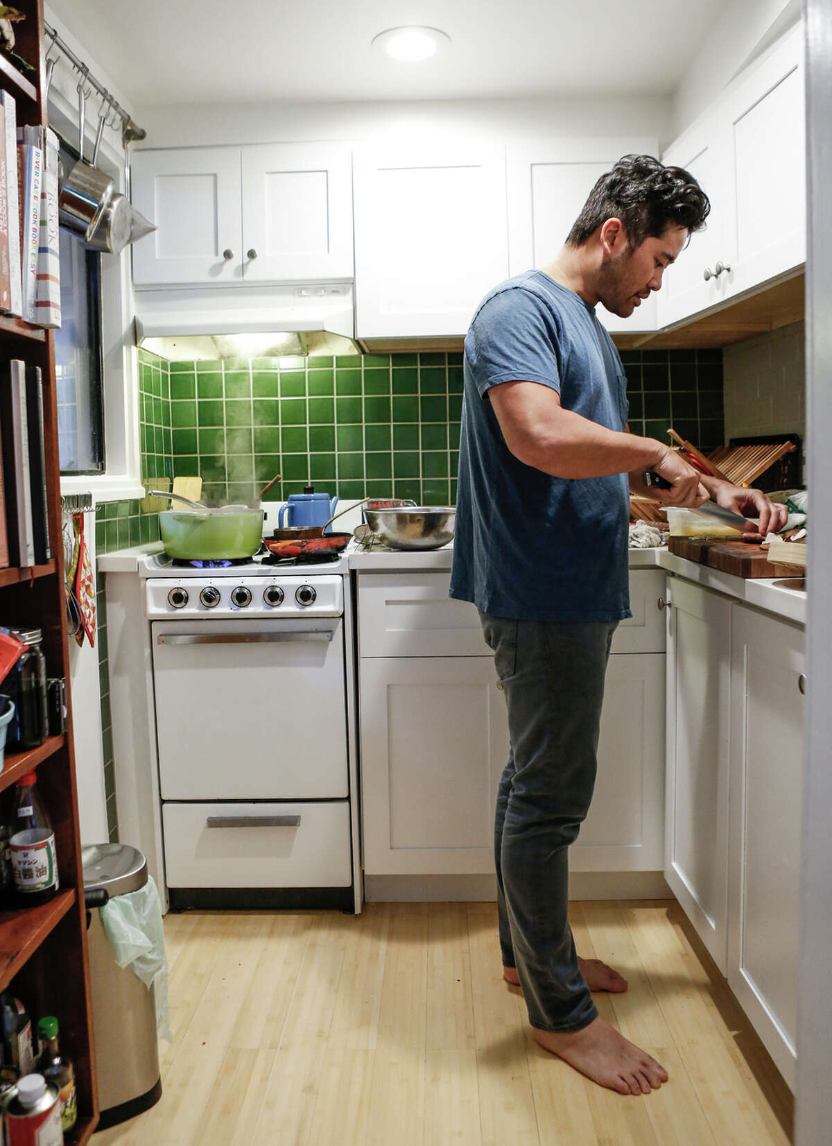 """Jew in the tiny kitchen of his S.F. apartment: """"I want to celebrate tradition, but I also want to make food that tastes good to me."""""""