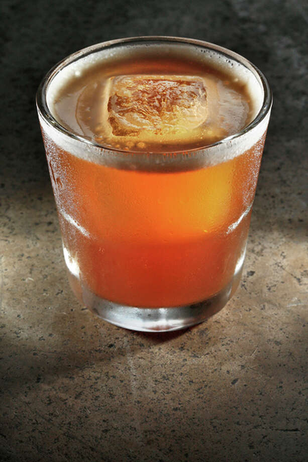 A Bankshot made by bar manager Dan Chavez Stahl at Bloodhound in S.F. The drink blends bourbon, lemon juice, sherry, cherry liqueur and rich syrup. Photo: Liz Hafalia / The Chronicle / ONLINE_YES