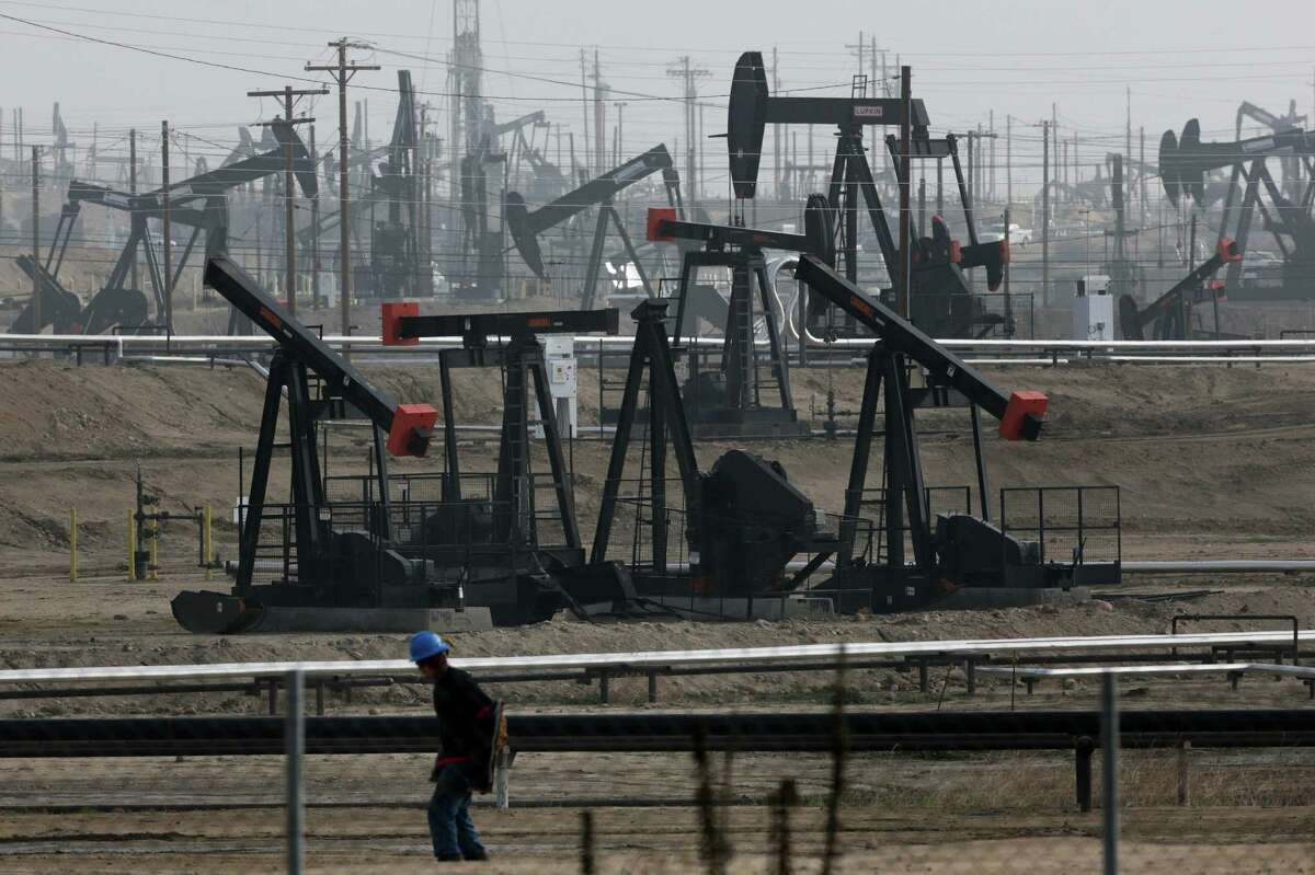 Pumpjacks operate at Kern River Oil Field in Bakersfield, where aquifers are being polluted.