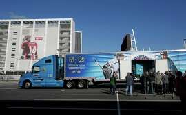 The ice-making truck sits outside Levi's Stadium, which will be the site of a Stadium Series game between the Sharks and Kings on Feb. 21.
