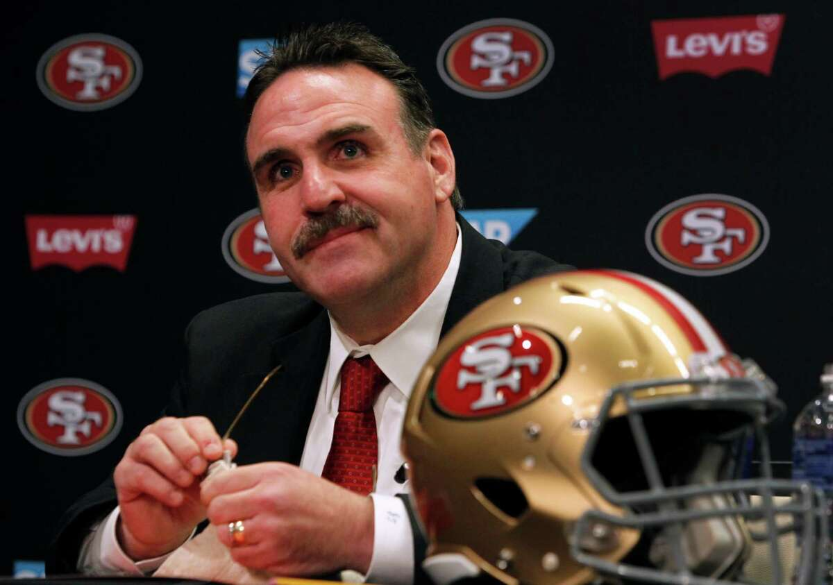 Defensive line coach Jim Tomsula is introduced as the new head coach of the San Francisco 49ers during a press conference at Levi's Stadium in Santa Clara, Calif. on Thursday, Jan. 15, 2015.