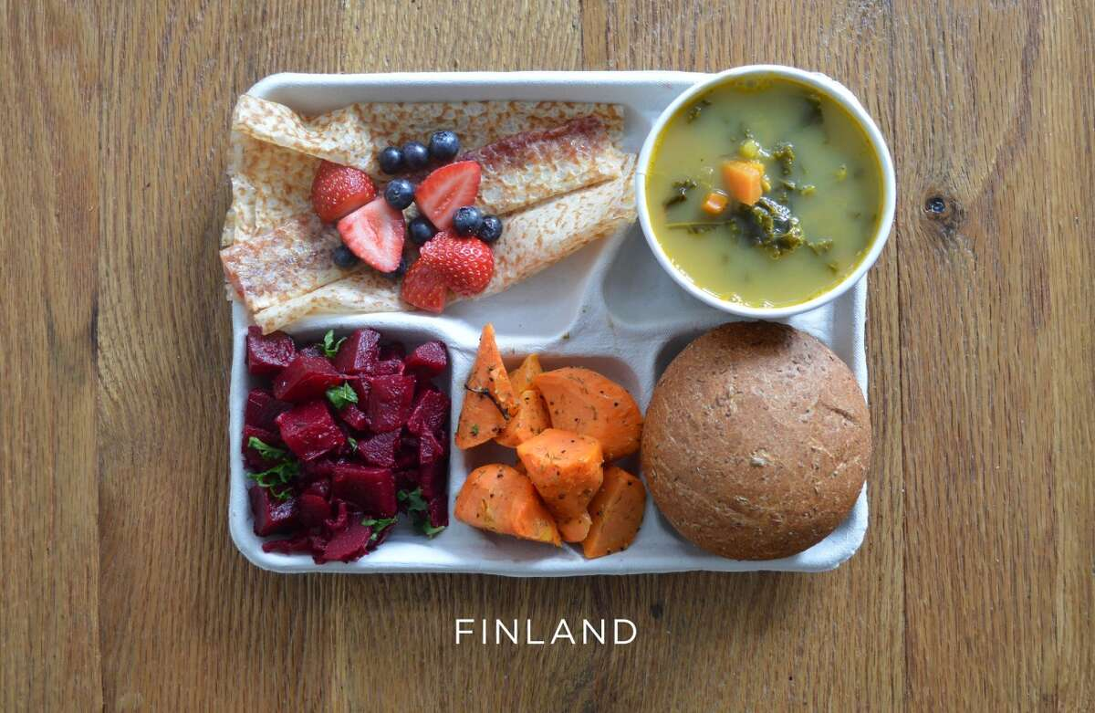 Finland: Pannakkau with fresh berries, pea soup, bread, carrot salad, and beet salad Source: sweetgreen