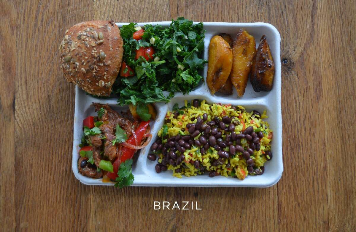 Brazil: Bread, salad, baked plantains, pork with mixed veggies, and black beans with rice Source: sweetgreen