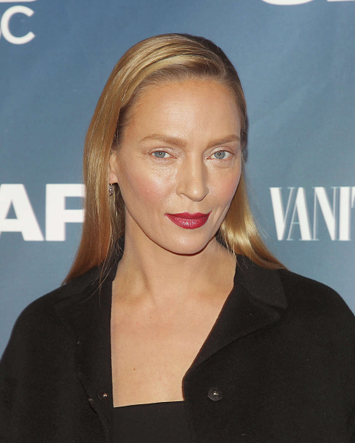 """NEW YORK, NY - FEBRUARY 09: Actress Uma Thurman attends """"The Slap"""" premiere party at The New Museum on February 9, 2015 in New York City. (Photo by Jim Spellman/WireImage)"""