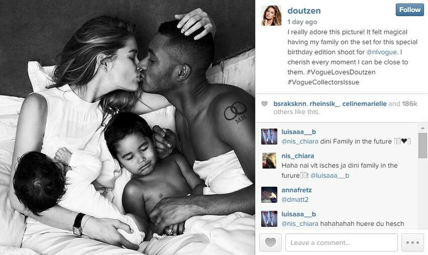 Victoria's Secret Model Doutzen Kroes made headlines for her Vogue Netherlands photo shoot where she is seen breastfeeding her daughter Myllena in bed with her husband DJ Sunnery James and son Phyllon alongside.