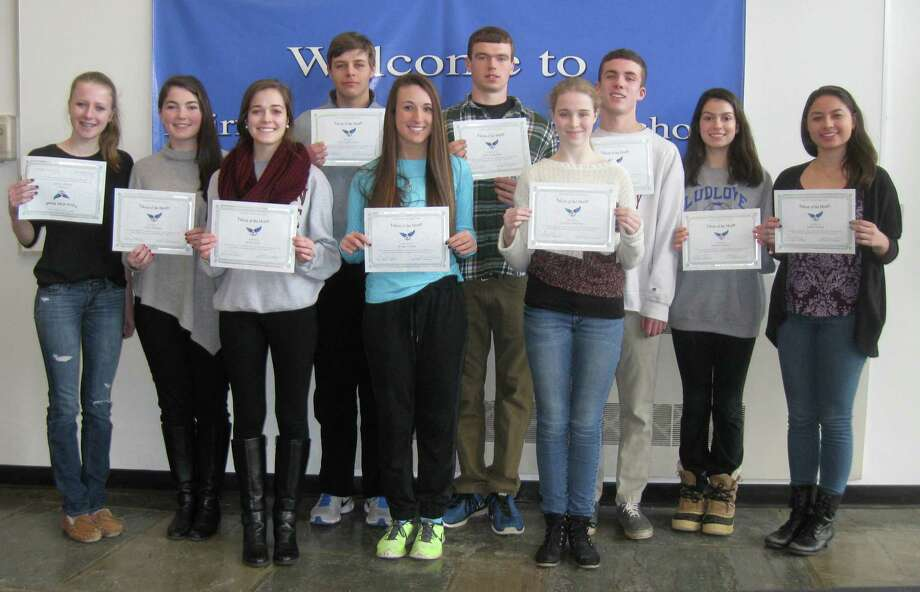 JANUARY FALCONS OF THE MONTH Fairfield Ludlowe High School honored 11 students as Falcons of the Month for January. Ludlowe recognized students who honored commitments to themselves and to others, as described in the school's mission statement, and they were selected by administrators.  From left are Bridget Walsh, Grace Hoffman, Sarah Ford, Chris Huzil, Caroline Pangallo, Jake Kiremidjian, Isabelle Cummings, John Gerber, Madison Burress and Isabel Chediak. Honored by absent when the photo was taken were Alexis Maresca and Raquashia Jones. Photo: Fairfield Citizen/Contributed / Fairfield Citizen