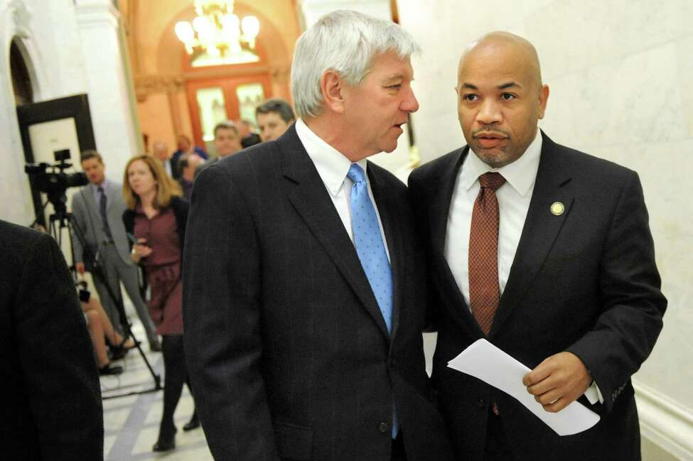 Assembly Speaker Carl Heastie, right, walks with Assemblyman Kevin Cahill on Tuesday, Feb. 10, 2015, at the Capitol in Albany, N.Y. (Cindy Schultz / Times Union)