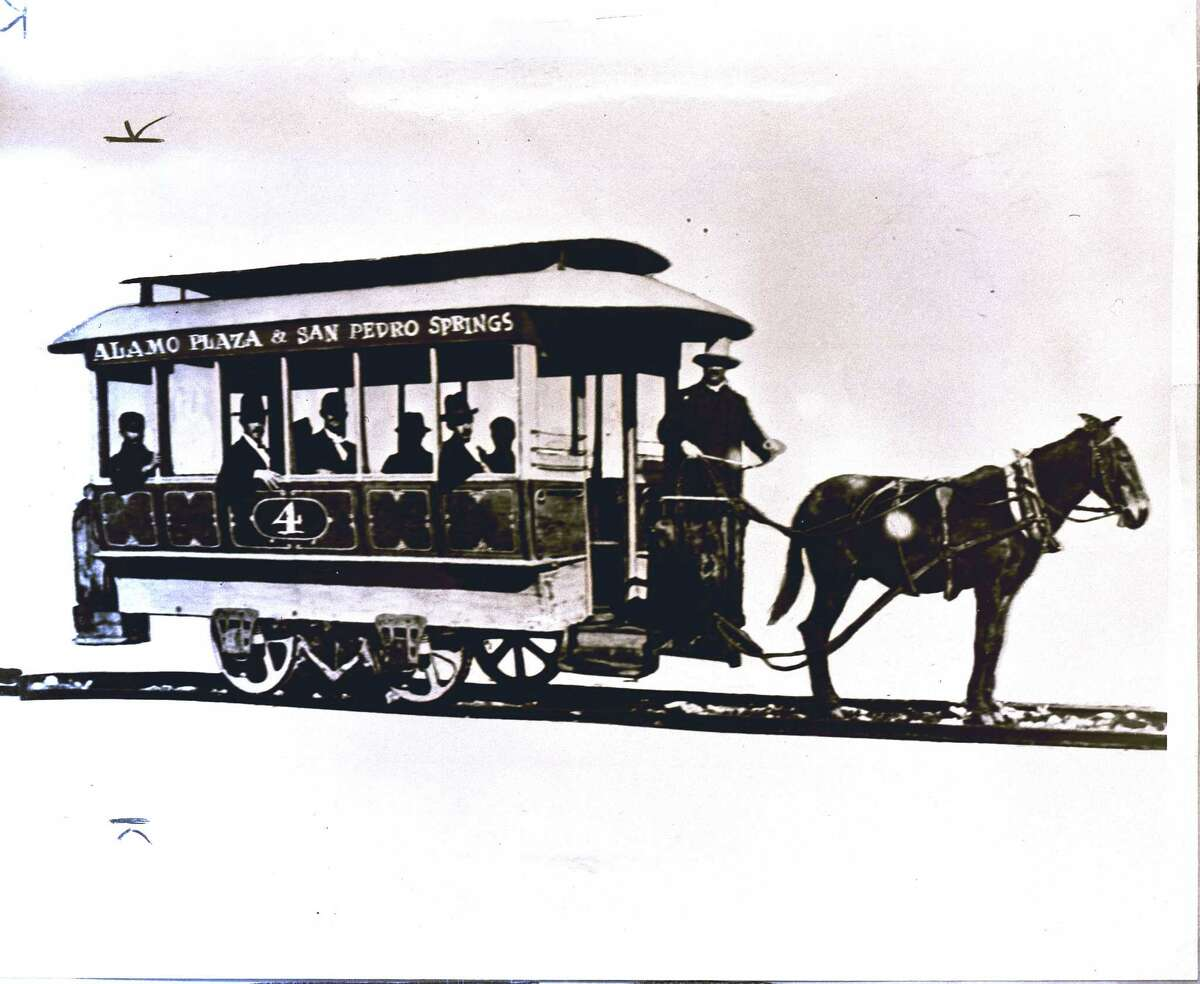 A mule-drawn streetcar for the Alamo Plaza & San Pedro Springs route is shown in this undated photo.