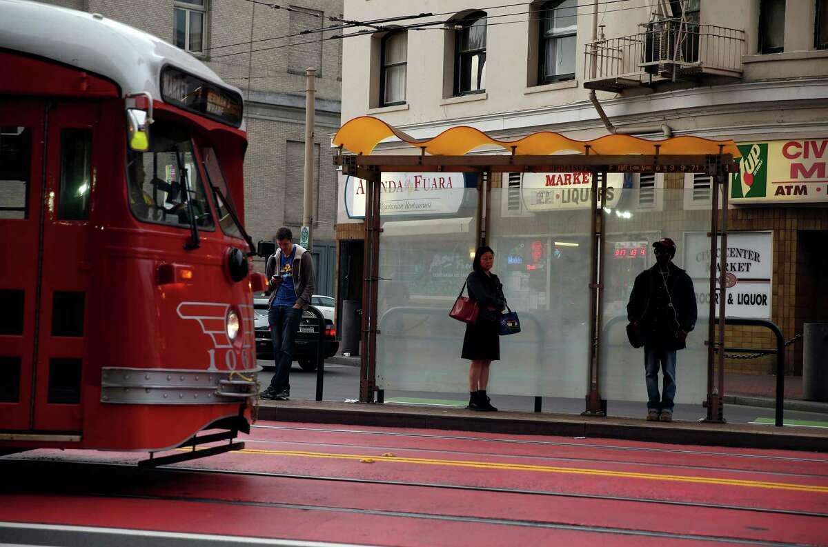 A F-Line streetcar on Market Street in San Francisco.