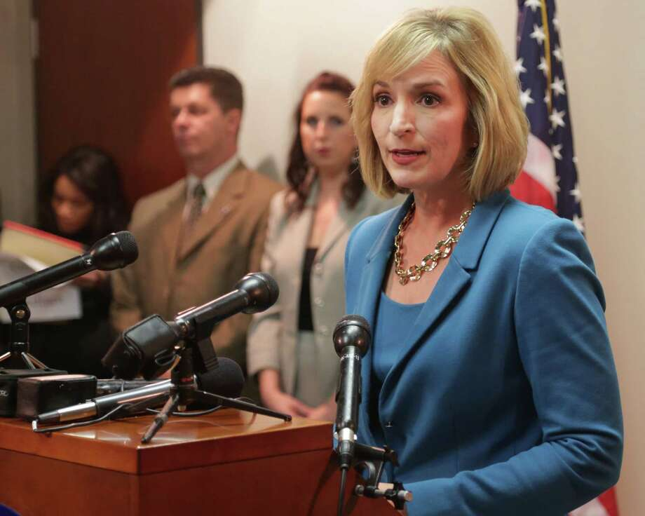 Harris County District Attorney Devon Anderson speaks with the media Wednesday October 29, 2014 about the success of the Capital Murder Project Court and how it has helped moved old cases through the criminal justice system faster. (Billy Smith II / Chronicle) Photo: Billy Smith II, Staff / © 2014 Houston Chronicle