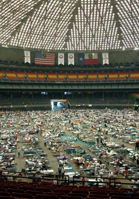 Evacuees crowded the Astrodome floor on September 4, 2005.  Photo: JIM MACMILLAN, MBR / PHILADELPHIA DAILY NEWS