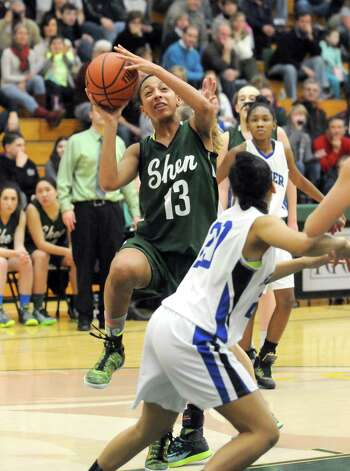 Shenendehowa's Sydney Brown drives to the basket during their girl's high school basketball game against Shaker at Siena College on Tuesday Feb. 10, 2015 in Loudonville ,N.Y.  (Michael P. Farrell/Times Union) Photo: Michael P. Farrell / 00030535A