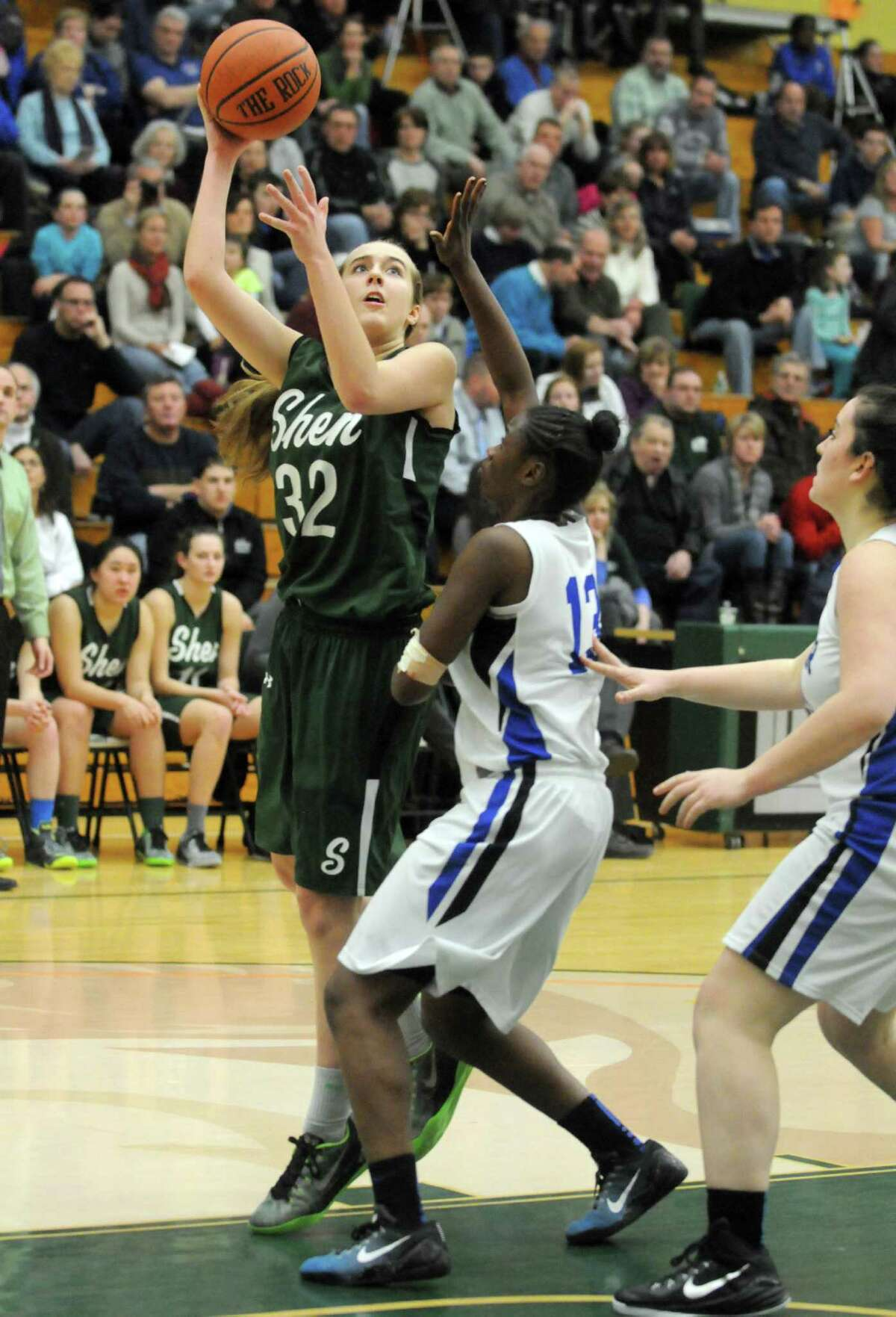 Shenendehowa's Carly Boland puts up a shot during their girl's high school basketball game against Shaker at Siena College on Tuesday Feb. 10, 2015 in Loudonville ,N.Y. (Michael P. Farrell/Times Union)