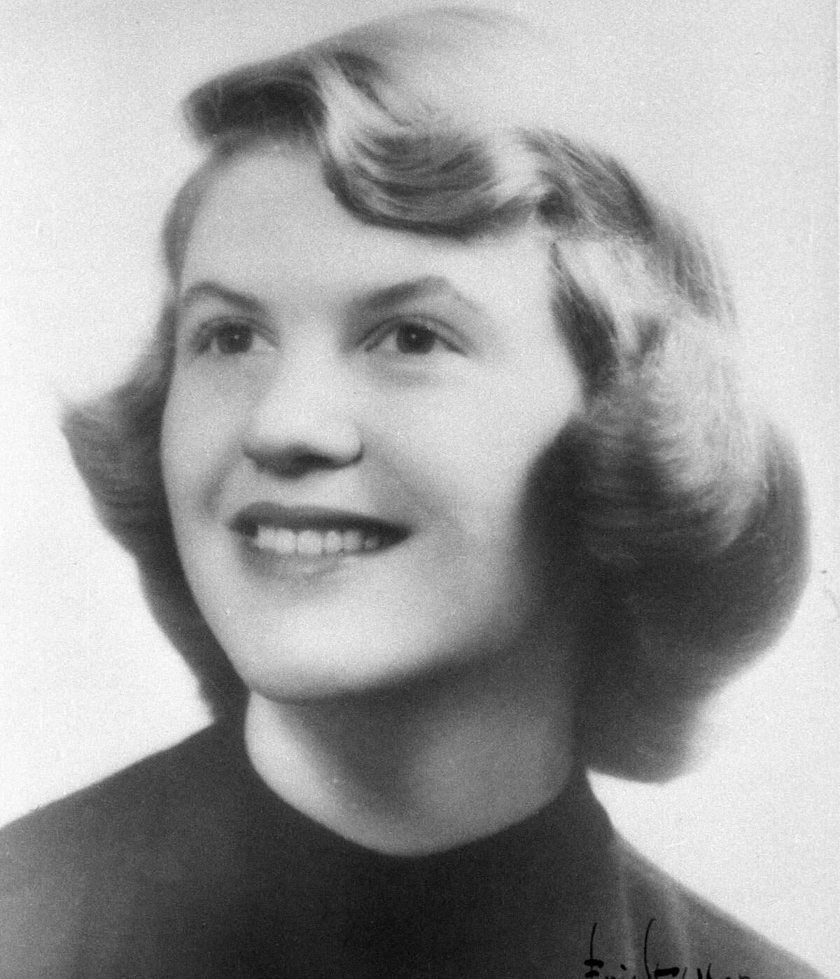 Plath in 1955, photographed at Smith College in Northampton, Mass.