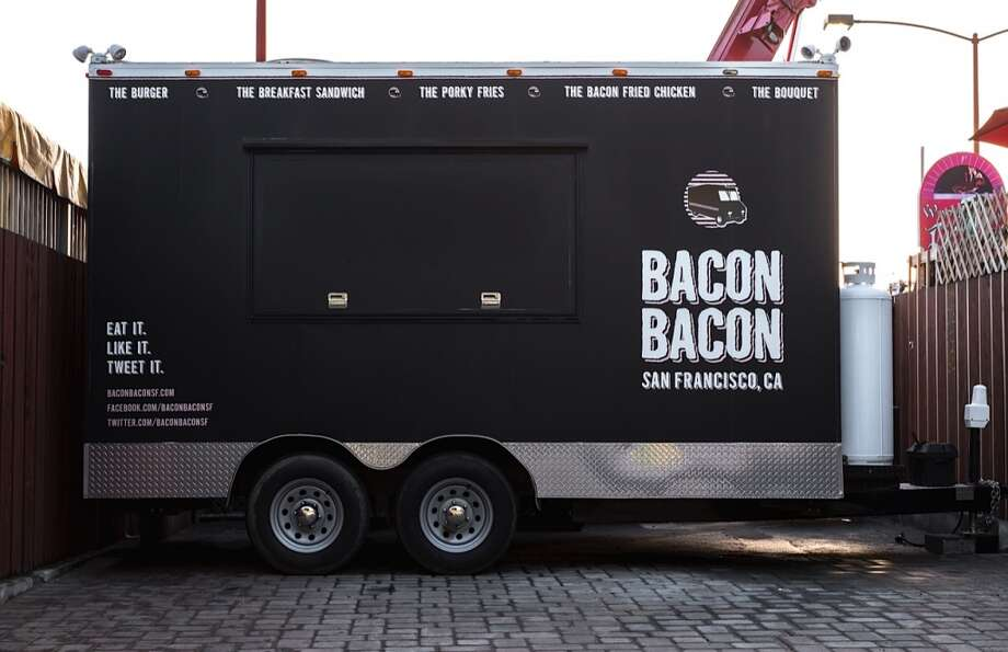 The new Bacon Bacon trailer needed a crane to move into Fisherman's Wharf. Photo: Adam Aaron