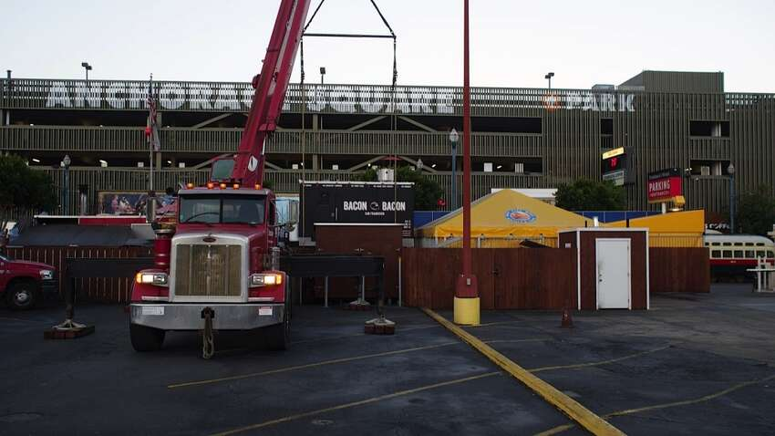 The new Bacon Bacon trailer needed a crane to move into Fisherman's Wharf.