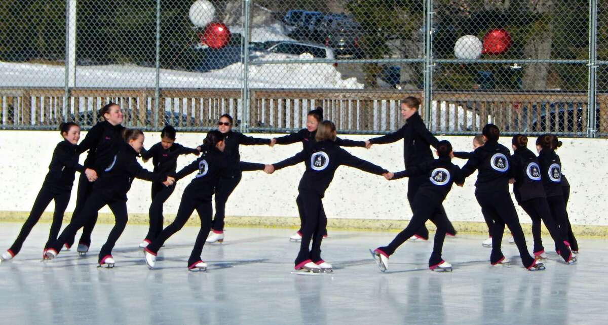 The Sprites of the Southern Connecticut Synchronized Skating team perform for the parents and figure skaters of the New Canaan Skating Club and Greenwich Skating Club.