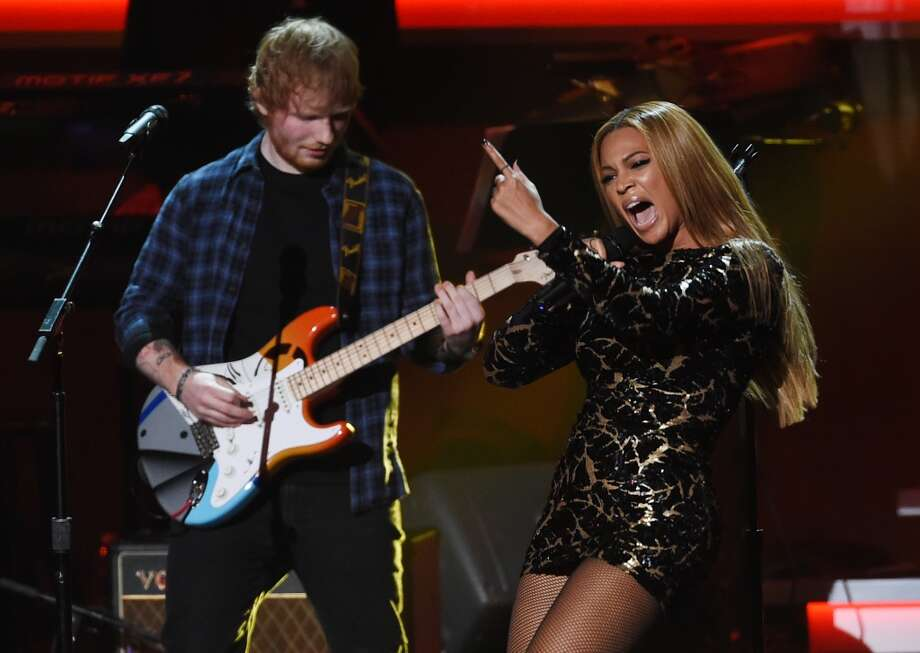 "Beyonce, right, performs with Ed Sheeran during ""Stevie Wonder: Songs in the Key of Life - An All-Star Grammy Salute,"" at the Nokia Theatre L.A. Live on Tuesday, Feb. 10, 2015, in Los Angeles. (Photo by Chris Pizzello/Invision/AP) Photo: Chris Pizzello, Associated Press"