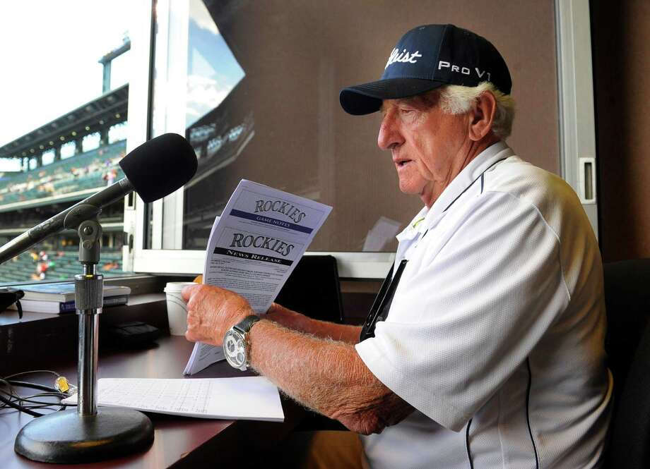 Broadcaster Bob Uecker prepares to call a game between the Colorado Rockies and the Milwaukee Brewers. Photo: Karl Gehring, Getty Images / (C) 2011 The Denver Post, MediaNews Group