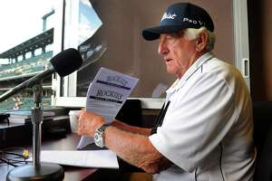 Broadcaster Bob Uecker prepared for the game in the pressbox at Coors Field Friday night. The Colorado Rockies hosted the Milwaukee Brewers Friday night July 15, 2011 at Coors Field. Karl Gehring/ The Denver Post