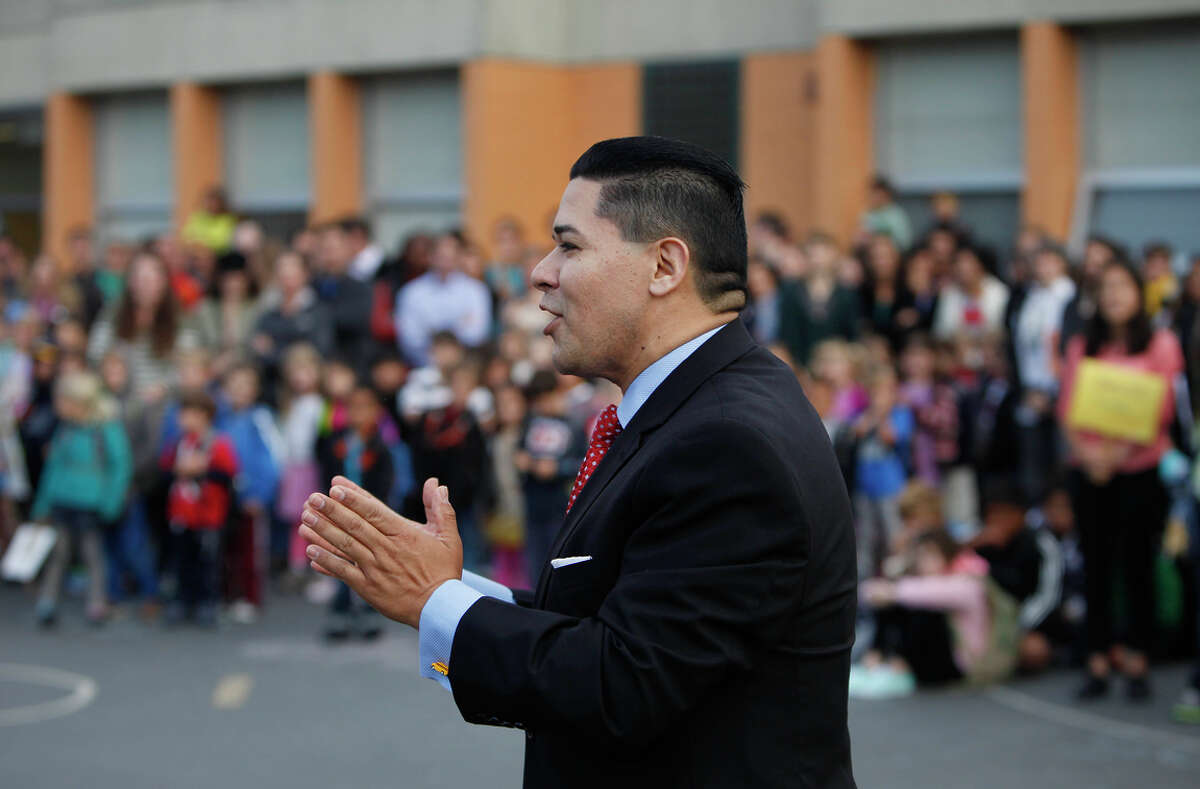 Superintendent Richard Carranza speaks to students at Grattan Elementary School in 2013. Carranza is receiving a 27 percent pay raise this year.