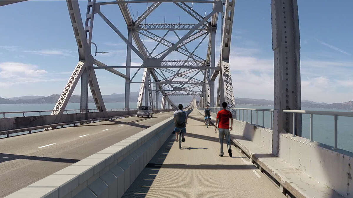 Rendering of planned new bike and pedestrian lane and movable barrier across the 5.5-mile Richmond San Rafael Bridge. The view is of the tress section.