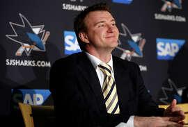Former Sharks goalie Evgeni Nabokov smiles at the news conference in San Jose announcing his NHL retirement.