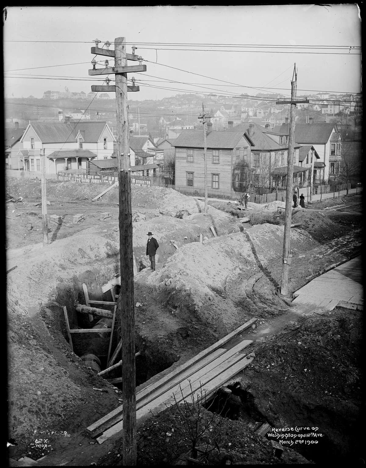 Cedar River Pipeline No. 1 under construction near 12th Avenue South. Pictured 1900.