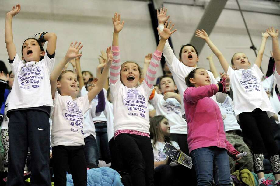 Harmony Hill Elementary students yell for T-shirts when the UAlbany women take on Binghamton in their basketball game on Wednesday, Feb. 11, 2015, at SEFCU Arena in Albany, N.Y. (Cindy Schultz / Times Union) Photo: Cindy Schultz / 00030541A