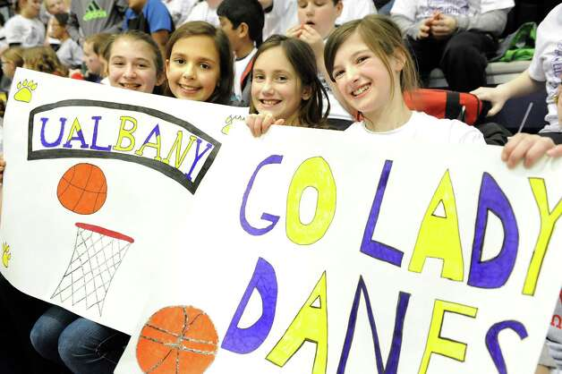 Lynnwood Elementary students show support for their team when the UAlbany women take on Binghamton in their basketball game on Wednesday, Feb. 11, 2015, at SEFCU Arena in Albany, N.Y. (Cindy Schultz / Times Union) Photo: Cindy Schultz / 00030541A