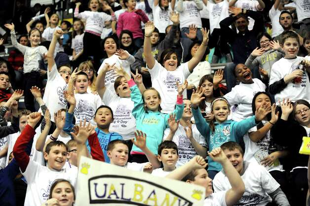 Lynnwood Elementary students play to the cameras when the UAlbany women take on Binghamton in their basketball game on Wednesday, Feb. 11, 2015, at SEFCU Arena in Albany, N.Y. (Cindy Schultz / Times Union) Photo: Cindy Schultz / 00030541A