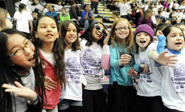 Pine Bush Elementary students gather to dance during halftime when the UAlbany women take on Binghamton in their basketball game on Wednesday, Feb. 11, 2015, at SEFCU Arena in Albany, N.Y. (Cindy Schultz / Times Union) Photo: Cindy Schultz / 00030541A