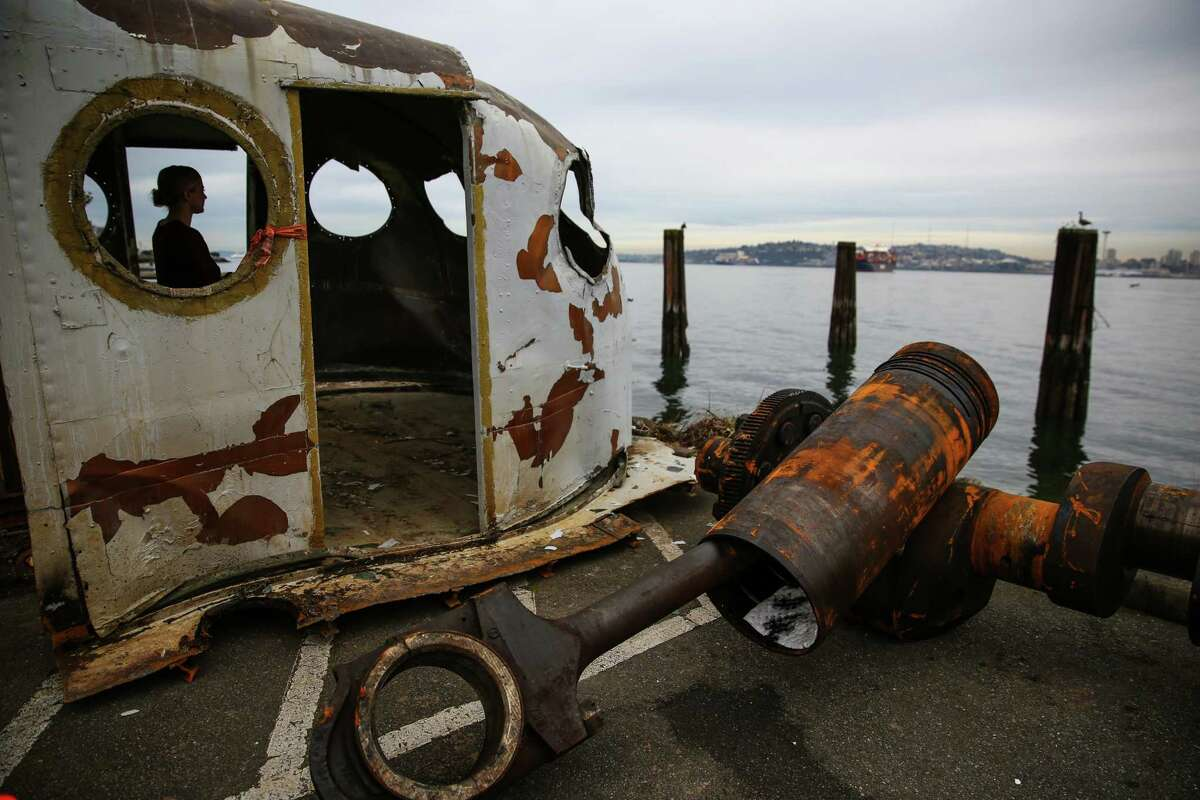 The wheelhouse, a piston and a crankshaft from the historic ferry Kalakala are shown outside of Salty's on Alki. Salty's restaurant owner Gerry Kingen purchased parts of the historic ferry Kalakala after the ship was dismantled. After years of efforts to preserve the ferry, it finally met its end at a graving dock in Tacoma. Photographed on Wednesday, February 11, 2015.
