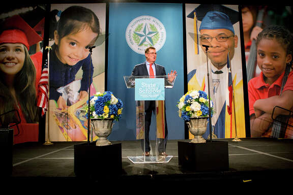 Houston ISD Superintendent Terry Grier delivers his State of the Schools address at the Hilton Americas Hotel in February.