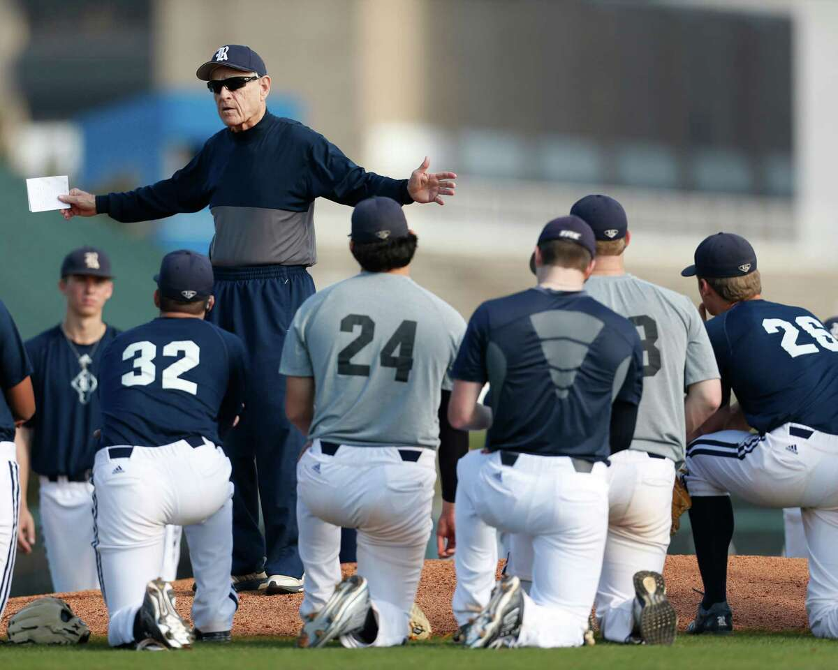 Wayne Graham conducts practice Wednesday in preparation for his 24th season at Rice.