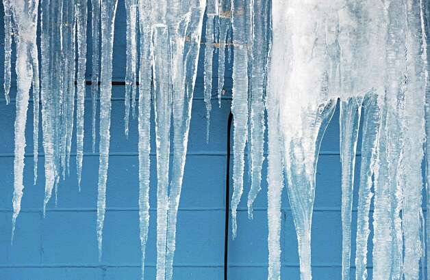 Icicles on Uncle Sam Lanes on 6th Avenue Wednesday Feb. 11, 2015in Troy, NY.  (John Carl D'Annibale / Times Union) Photo: John Carl D'Annibale / 00030577A