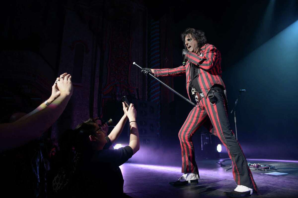 """Alice Cooper performs during his """"Raise the Dead"""" tour at the Majestic Theatre in San Antonio on Wednesday, Feb. 11, 2015."""