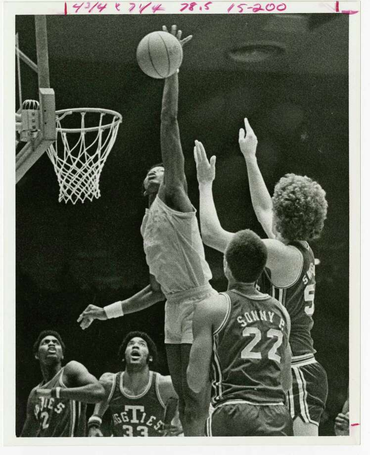 As exemplified by Robert Paige's high-flying block of a Texas A&M shot in 1976, Houston Baptist has never been shy about taking on bigger schools on the hardwood. Photo: Houston Baptist Basketball
