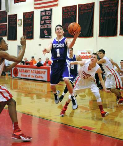 Catholic Central High School's Paul Mainello drives to the basket during their boy's high school basketball game against Albany Academy on Wednesday Feb. 11, 2015 in Albany, N.Y.  (Michael P. Farrell/Times Union) Photo: Michael P. Farrell / 00030563A
