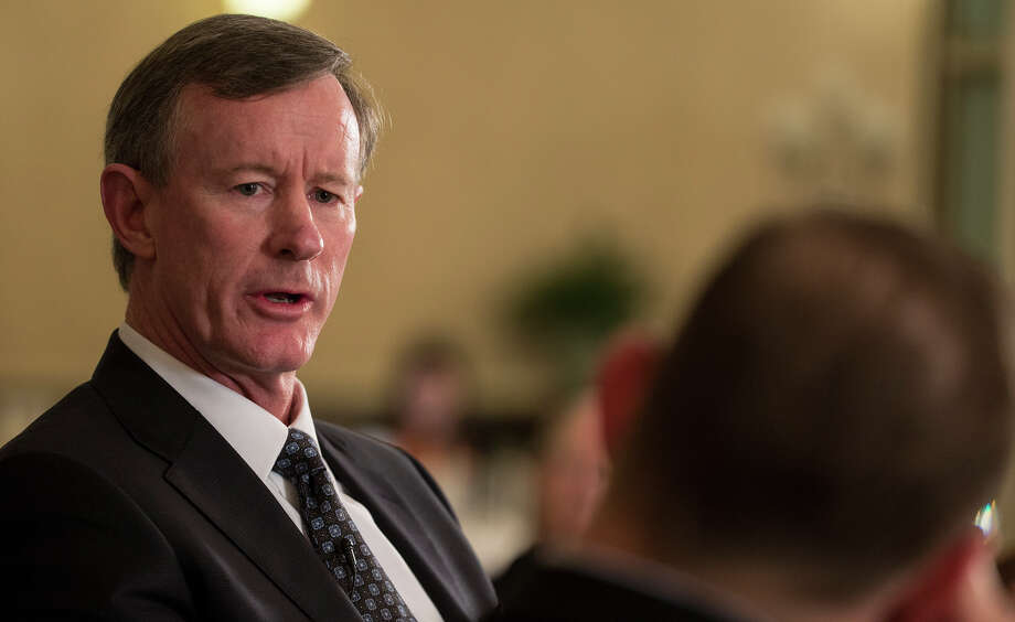 In this photo taken Feb. 5, 2015, University of Texas System chancellor Bill McRaven speaks with Texas Tribune CEO Evan Smith during an interview in Austin, Texas. Barely a month on the job, McRaven has staked out positions on several of Texas' thorniest higher education policy debates that put him at odds with some of the Legislature's new conservative leadership. (AP Photo/Austin American-Statesman, Ricardo B. Brazziell )  AUSTIN CHRONICLE OUT, COMMUNITY IMPACT OUT, INTERNET AND TV MUST CREDIT PHOTOGRAPHER AND STATESMAN.COM, MAGAZINES OUT Photo: Ricardo B. Brazziell, Associated Press / Austinaustin American-Statesman
