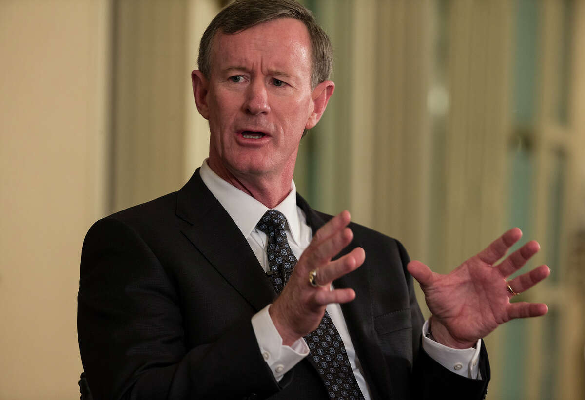 In this photo taken Feb. 5, 2015, University of Texas System chancellor Bill McRaven speaks with Texas Tribune CEO Evan Smith during an interview in Austin, Texas. Barely a month on the job, McRaven has staked out positions on several of Texas' thorniest higher education policy debates that put him at odds with some of the Legislature's new conservative leadership. (AP Photo/Austin American-Statesman, Ricardo B. Brazziell ) AUSTIN CHRONICLE OUT, COMMUNITY IMPACT OUT, INTERNET AND TV MUST CREDIT PHOTOGRAPHER AND STATESMAN.COM, MAGAZINES OUT