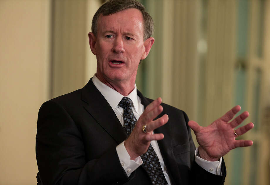 University of Texas System chancellor Bill McRaven speaks with Texas Tribune CEO Evan Smith during an interview in Austin, Texas in February. Photo: Ricardo B. Brazziell, Associated Press / Austinaustin American-Statesman