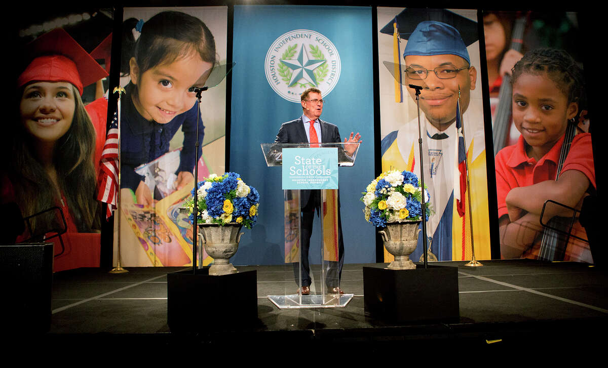 Houston ISD Superintendent Terry Grier delivers his sixth State of the Schools at the Hilton Americas Hotel, Wednesday, Feb. 11.