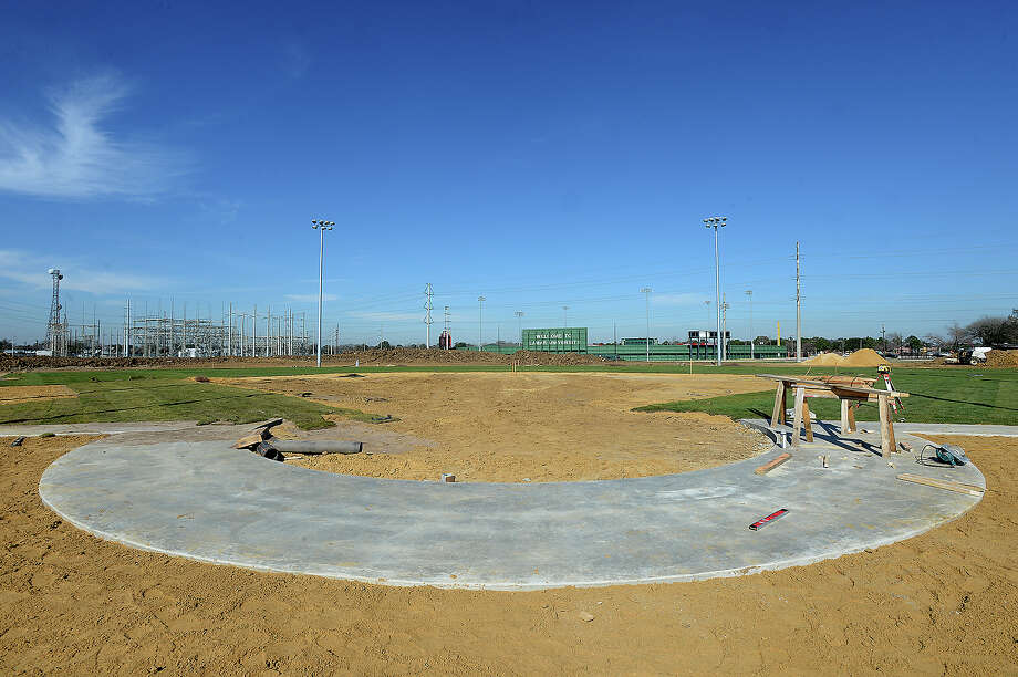 The Lady Cardinals' new facility has been making great strides in recent weeks, with only 3 more weeks remaining ntil they take the field for their home opener. Photo taken Tuesday, February 10, 2015 Kim Brent/The Enterprise Photo: Kim Brent / Beaumont Enterprise
