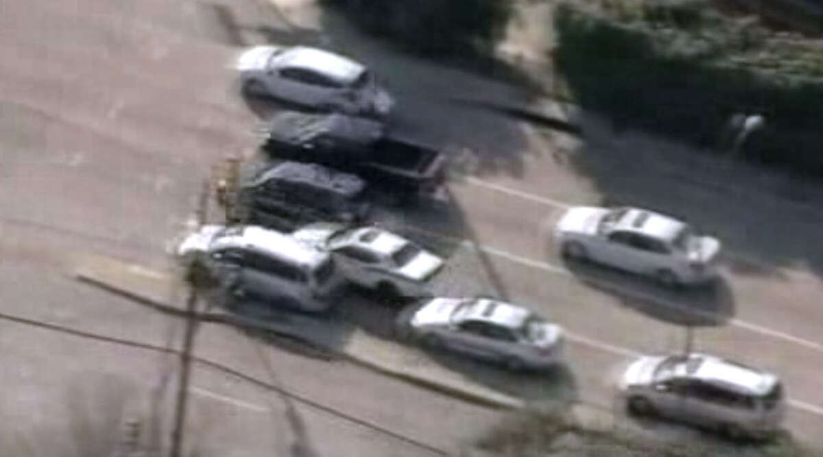 The thief smashed into cars stopped at a stop light. Taken from KTLA News Los Angeles