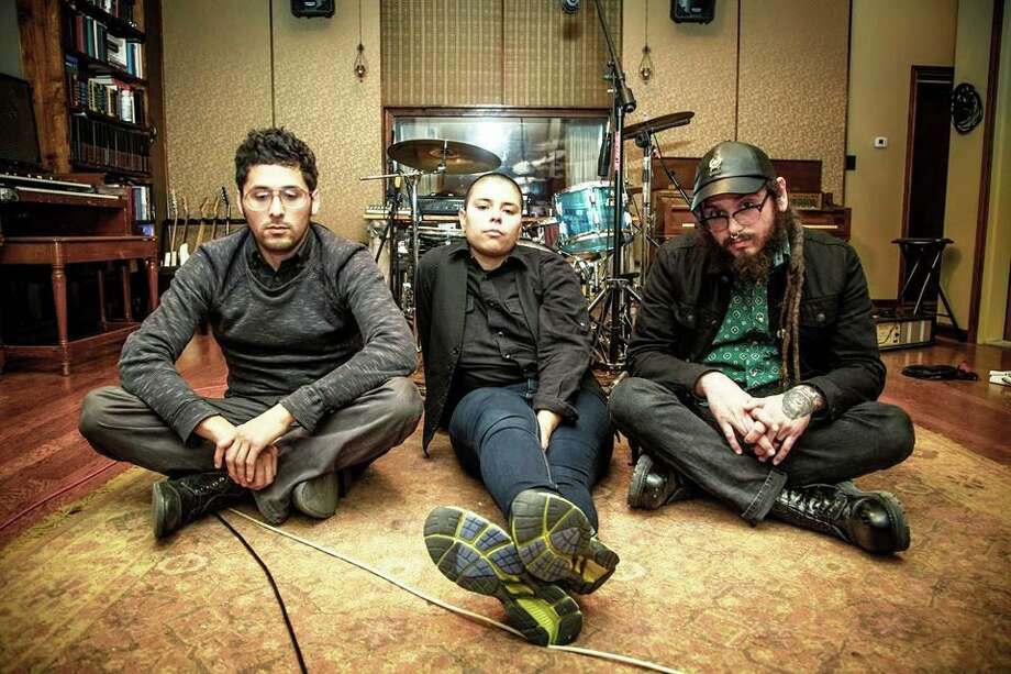 "Saakred (center), who has released a new five-song EP called ""Make Believe"" with musicians Robert Gonzales and Andy Bernal, will be at Hi-Tones on Friday night. Photo: Courtesy Arturo Vilches"